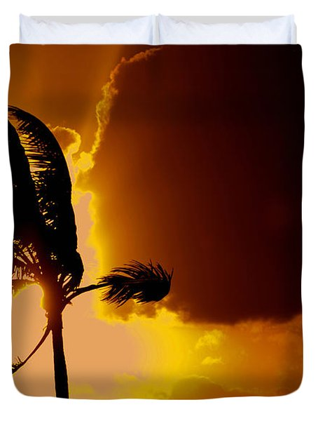 Sunset In Long Island Duvet Cover by Victor Minca