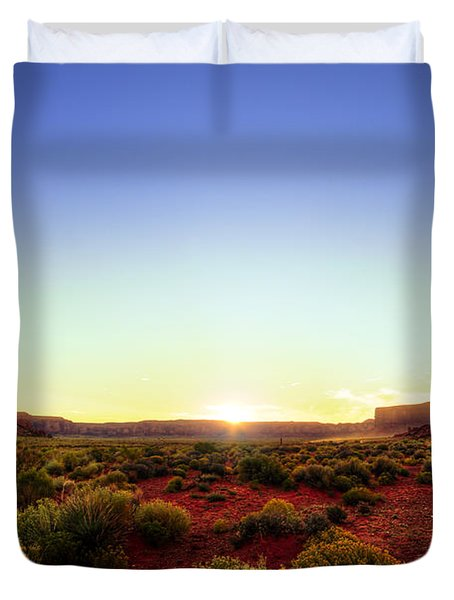 Sunset In Monument Valley Duvet Cover by Alexey Stiop