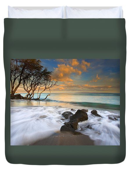 Sunset In Paradise Duvet Cover by Mike  Dawson