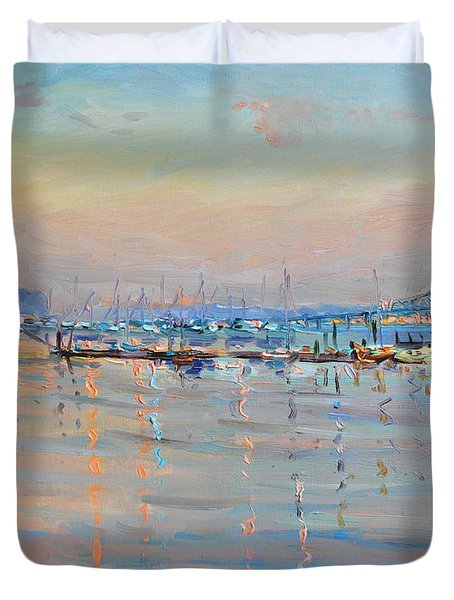 Sunset In Piermont Harbor Ny Duvet Cover