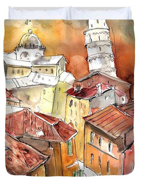 Sunset In Pisa Duvet Cover by Miki De Goodaboom