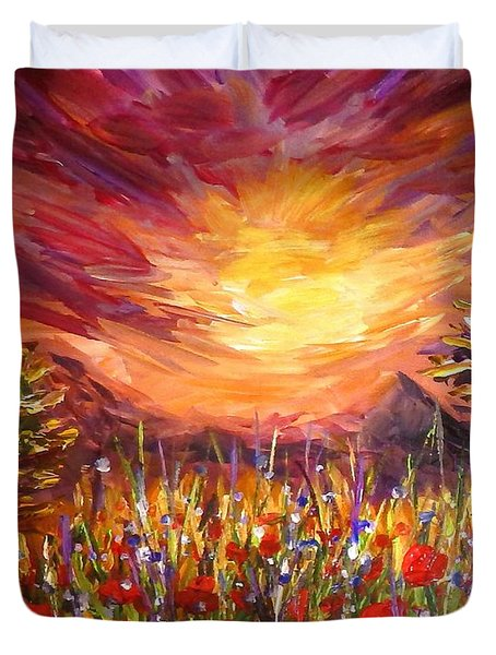 Sunset In Poppy Valley  Duvet Cover by Lilia D
