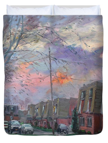 Sunset In Royal Park Apartments Duvet Cover by Ylli Haruni