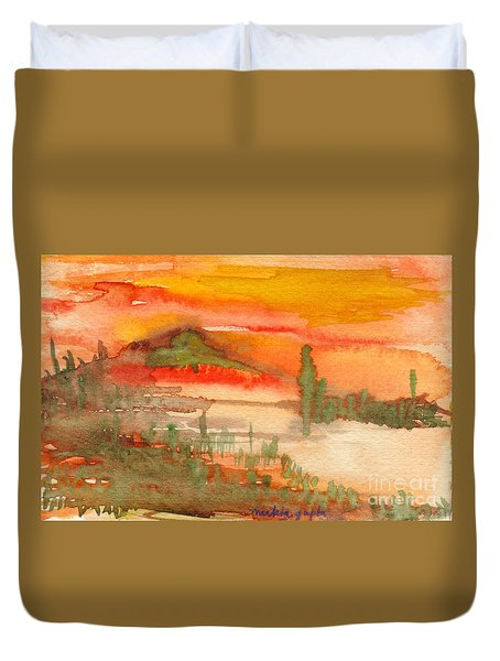Sunset In Saguaro Desert  Duvet Cover