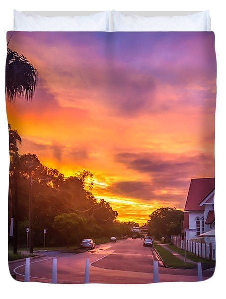 Duvet Cover featuring the photograph Sunset In Sandgate by Peta Thames