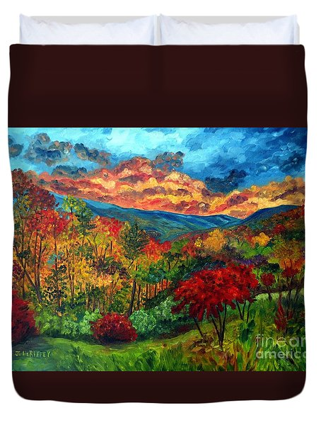 Sunset In Shenandoah Valley Duvet Cover