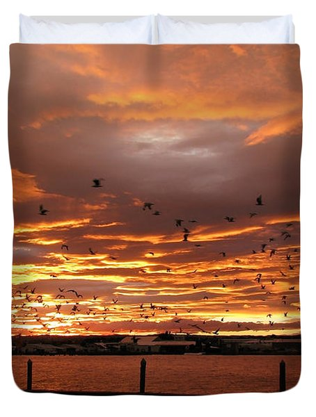 Sunset In Tauranga New Zealand Duvet Cover by Jola Martysz
