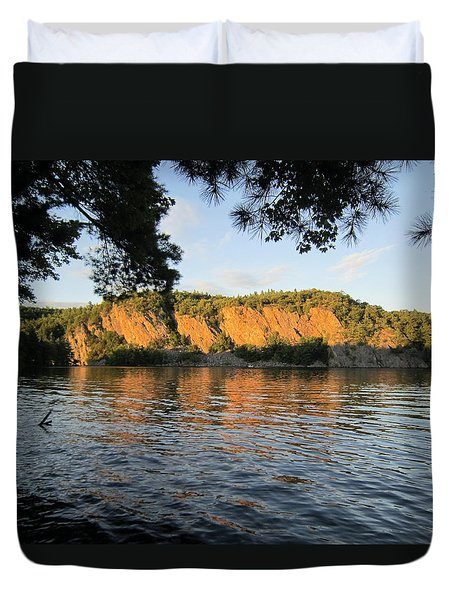Duvet Cover featuring the photograph sunset in the Bay by Jieming Wang