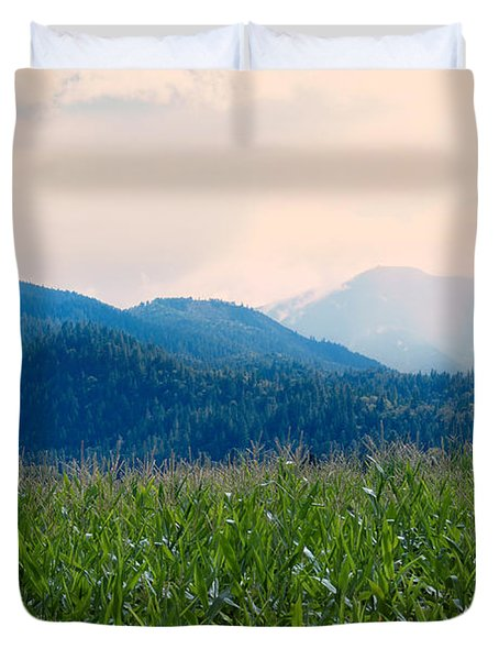 Sunset In The Cornfields Duvet Cover by Melanie Lankford Photography