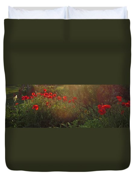 Sunset In The Poppy Garden Duvet Cover