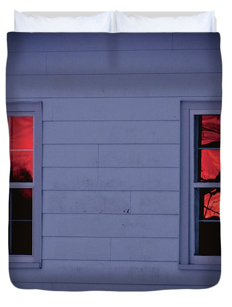 Sunset In The Windows Duvet Cover by Cheryl Baxter