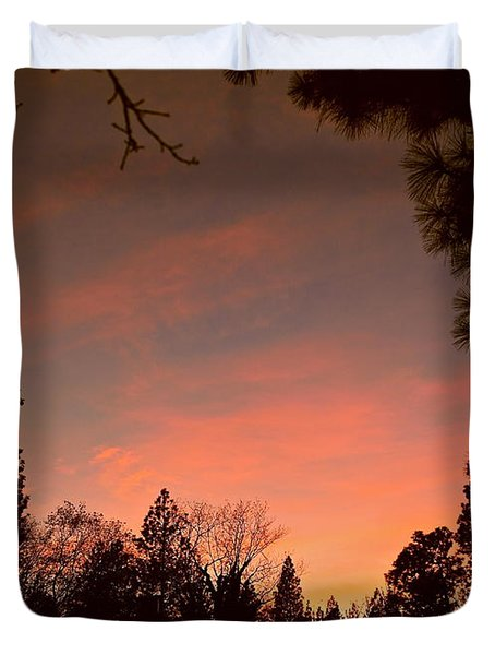Sunset In Winter Duvet Cover