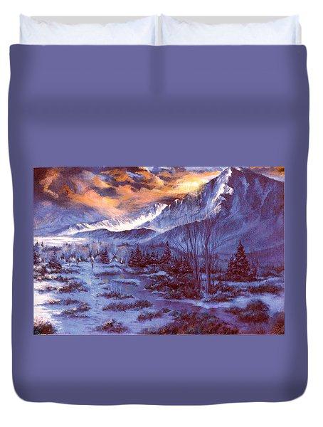 Sunset Indian Village Duvet Cover