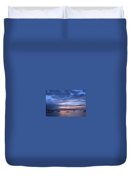 Duvet Cover featuring the photograph Sunset by Karen Silvestri