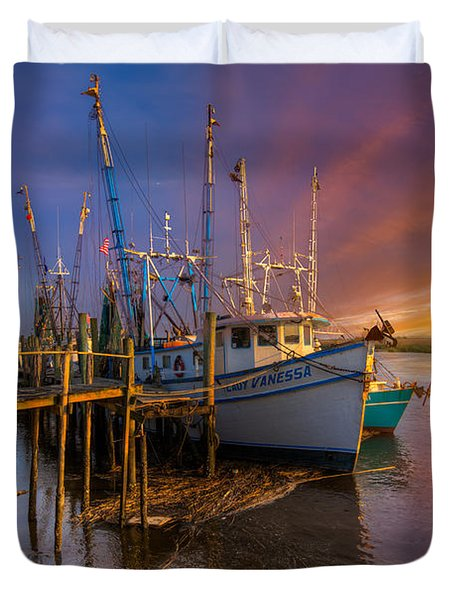 Sunset Lady Duvet Cover by Debra and Dave Vanderlaan