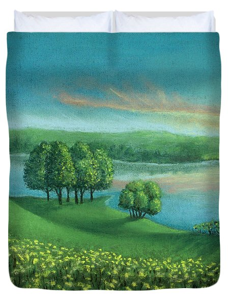 Sunset Lake A Duvet Cover