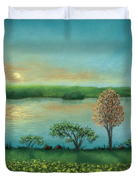 Sunset Lake B Duvet Cover