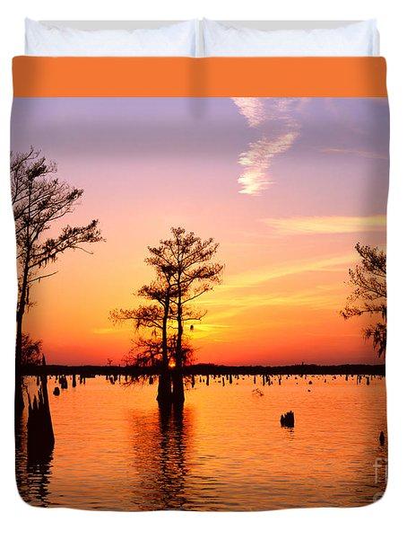 Sunset Lake In Louisiana Duvet Cover