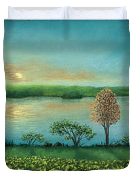 Sunset Lake Triptych Duvet Cover