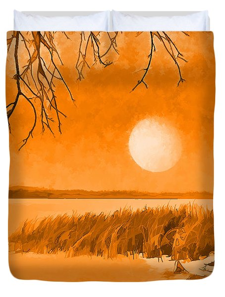 Duvet Cover featuring the digital art Calm Lake Under Full Moon - Boulder County Colorado by Joel Bruce Wallach