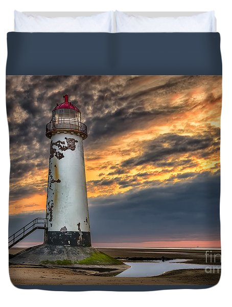 Sunset Lighthouse Duvet Cover by Adrian Evans