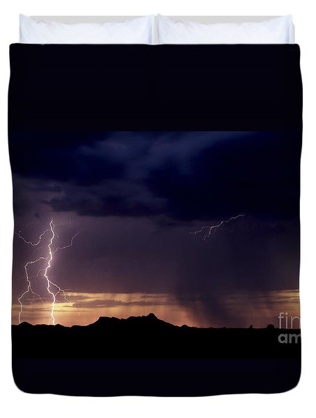 Sunset Lightning-signed Duvet Cover