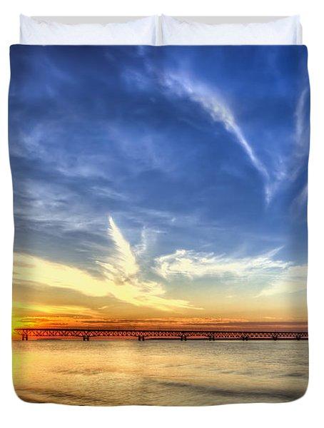 Sunset Mackinac Bridge Duvet Cover