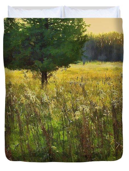 Duvet Cover featuring the photograph Sunset Meadow by John Hansen