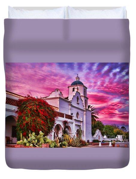 Sunset Mission San Luis Rey De Francia By Diana Sainz Duvet Cover