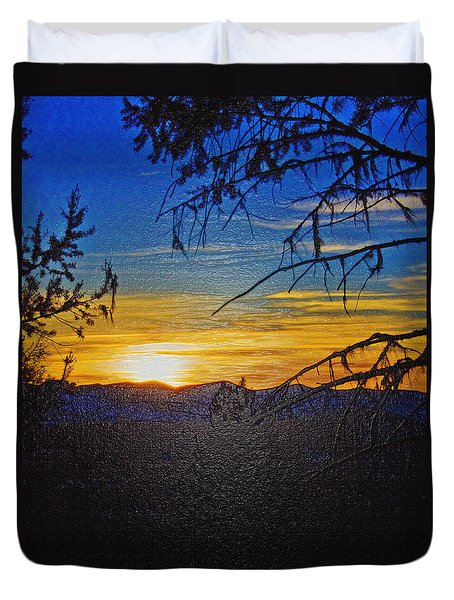 Duvet Cover featuring the photograph Sunset Mountain To Mountain by Janie Johnson