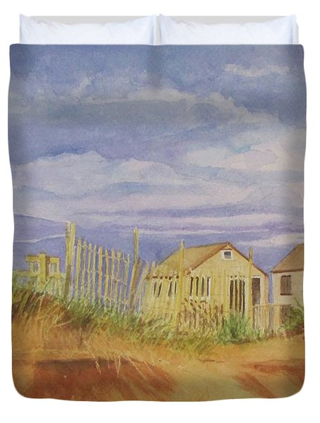 Duvet Cover featuring the painting Sunset Nantucket Beach by Carol Flagg