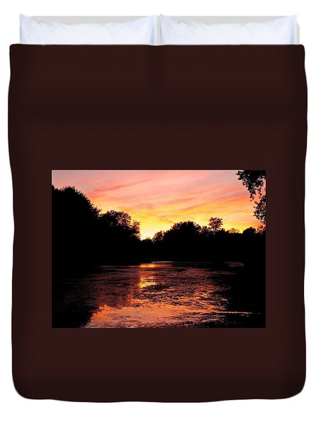 Duvet Cover featuring the photograph Sunset Near Rosemere - Qc by Juergen Weiss