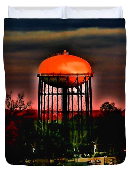 Sunset On A Charlotte Water Tower By Diana Sainz Duvet Cover by Diana Sainz