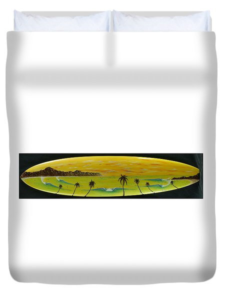 Sunset On A Surfboard Duvet Cover