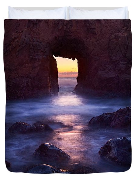 Sunset On Arch Rock In Pfeiffer Beach Big Sur In California. Duvet Cover by Jamie Pham