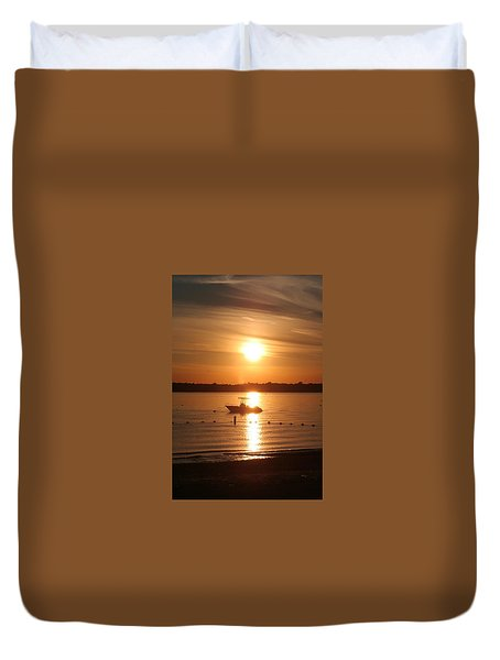 Duvet Cover featuring the photograph Sunset On Boat by Karen Silvestri
