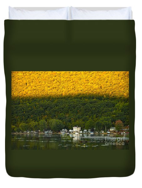 Sunset On Canandaigua Lake Duvet Cover by Steve Clough