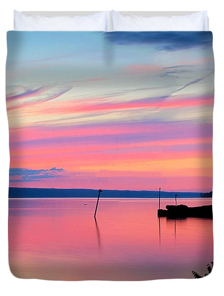 Sunset On Cayuga Lake Ithaca New York Duvet Cover