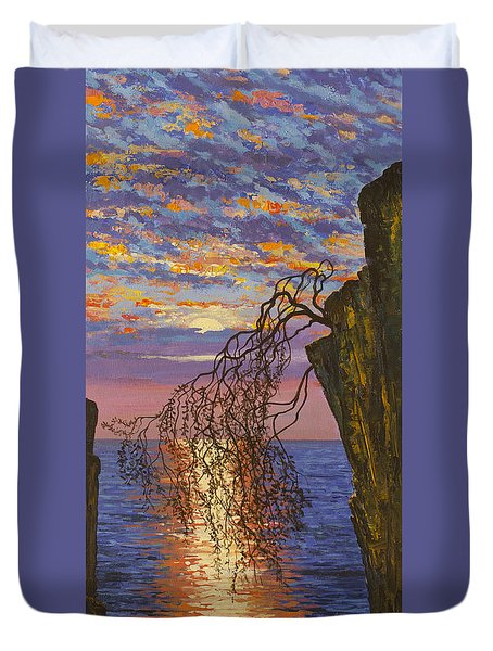 Sunset On Cliff Duvet Cover