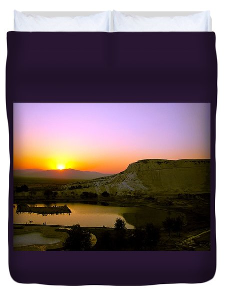 Duvet Cover featuring the photograph Sunset On Cotton Castles by Zafer Gurel
