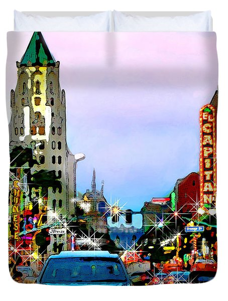 Duvet Cover featuring the digital art Sunset On Hollywood Blvd by Jennie Breeze