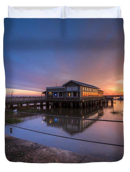 Sunset On Jekyll Island Duvet Cover by Debra and Dave Vanderlaan
