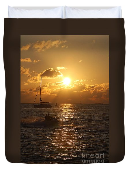 Sunset Over Key West Duvet Cover by Christiane Schulze Art And Photography