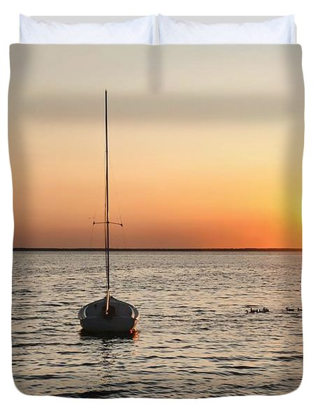 Sunset On Lbi Duvet Cover