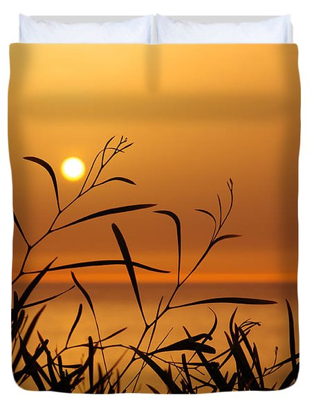 Sunset On Leaves  Duvet Cover by Carlos Caetano