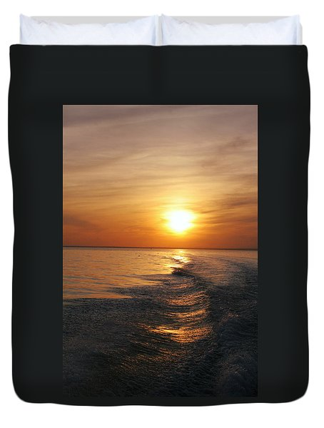 Duvet Cover featuring the photograph Sunset On Long Island Sound by Karen Silvestri