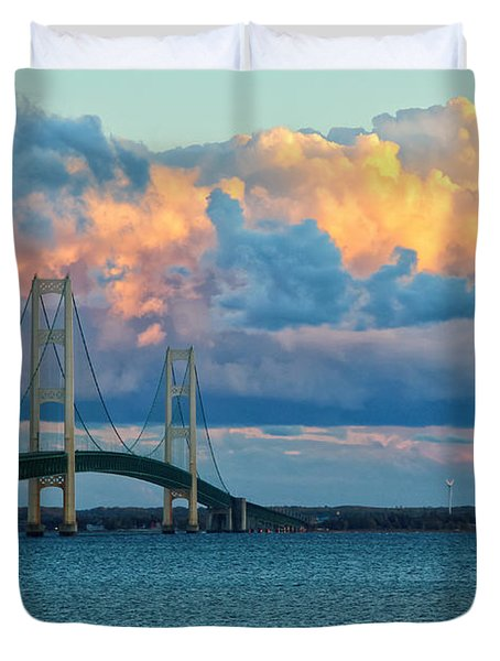 Sunset On Mackinac Bridge Duvet Cover by Rachel Cohen