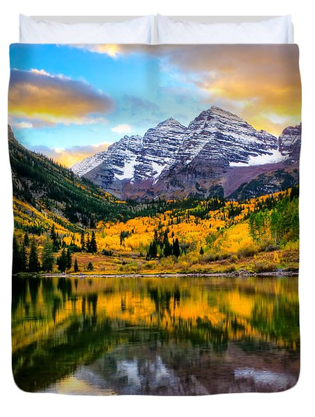 Sunset On Maroon Bells Duvet Cover