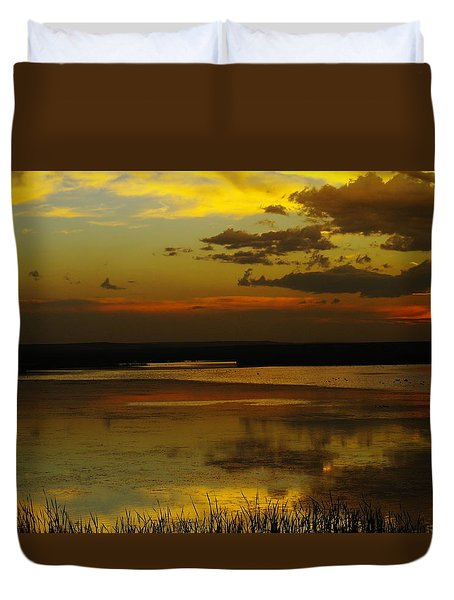 Sunset On Medicine Lake Duvet Cover by Jeff Swan