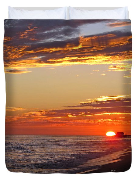 Sunset On Newport Beach Duvet Cover